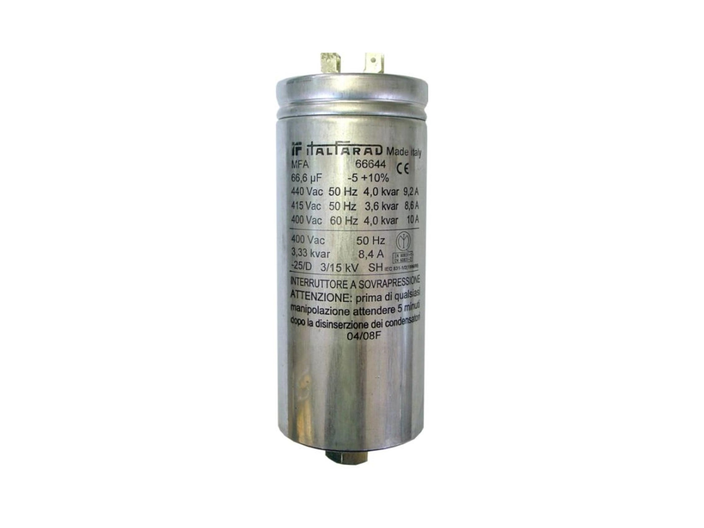 Italfarad Single-Phase Power Factor Correction Capacitors