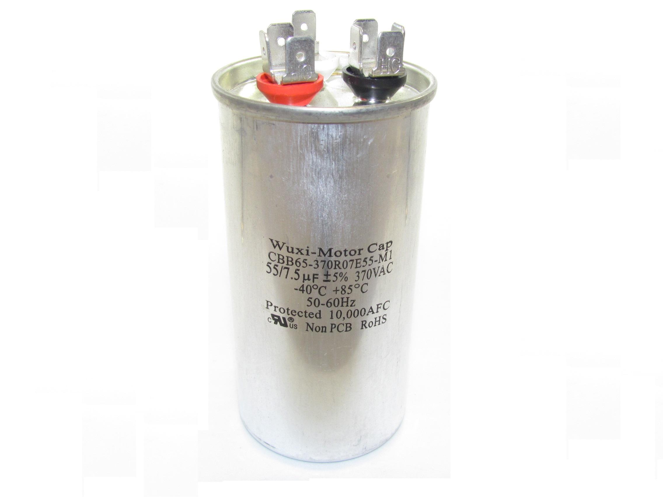 CBB65 Motor Run Capacitors (Round-Shaped, Dual Capacitance Value)